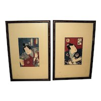 Pair of Japanese Woodblock Prints of Stage Actors by Toyohara Kunichika (1835-1900)