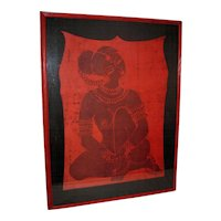 Framed Red Silk Batik of a Exotic Seated South-East Asian Female