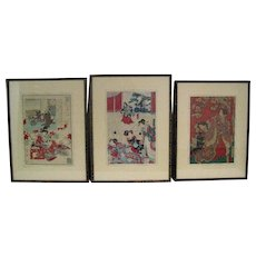 Three Antique Japanese Woodblock Prints with Beautiful Geisha