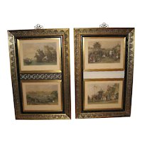 "Four Chinese 19th C. Hand Colored Steel Engravings, ""Life in Canton"""