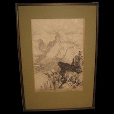 "Etching ""Half Dome"" View from Moran Point  by Thomas Moran (1837-1926)"