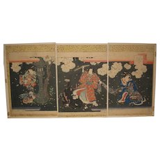 Japanese Woodblock of Samurai Warrior Defending a Beautiful Woman by Toyokuni