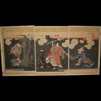 Japanese Woodblock of Samurai Warrior Defending a Beautiful Woman by Toyokuni