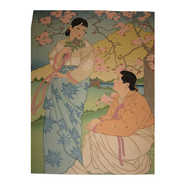 Rare Japanese Woodblock Print of Two Ladies Talking by Paul Jacoulet 1896-1960