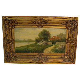 """Oil Painting """"Country Scene with Cottage Overlooking a Lake"""