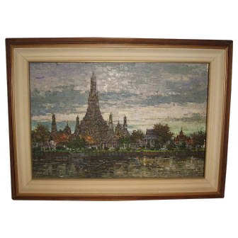 Oil Painting of a South-East Asian Temple Scene