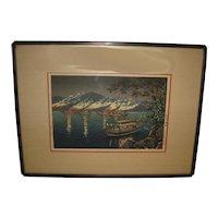 Marvelous Japanese Woodblock Print of Fireworks by Koitsu