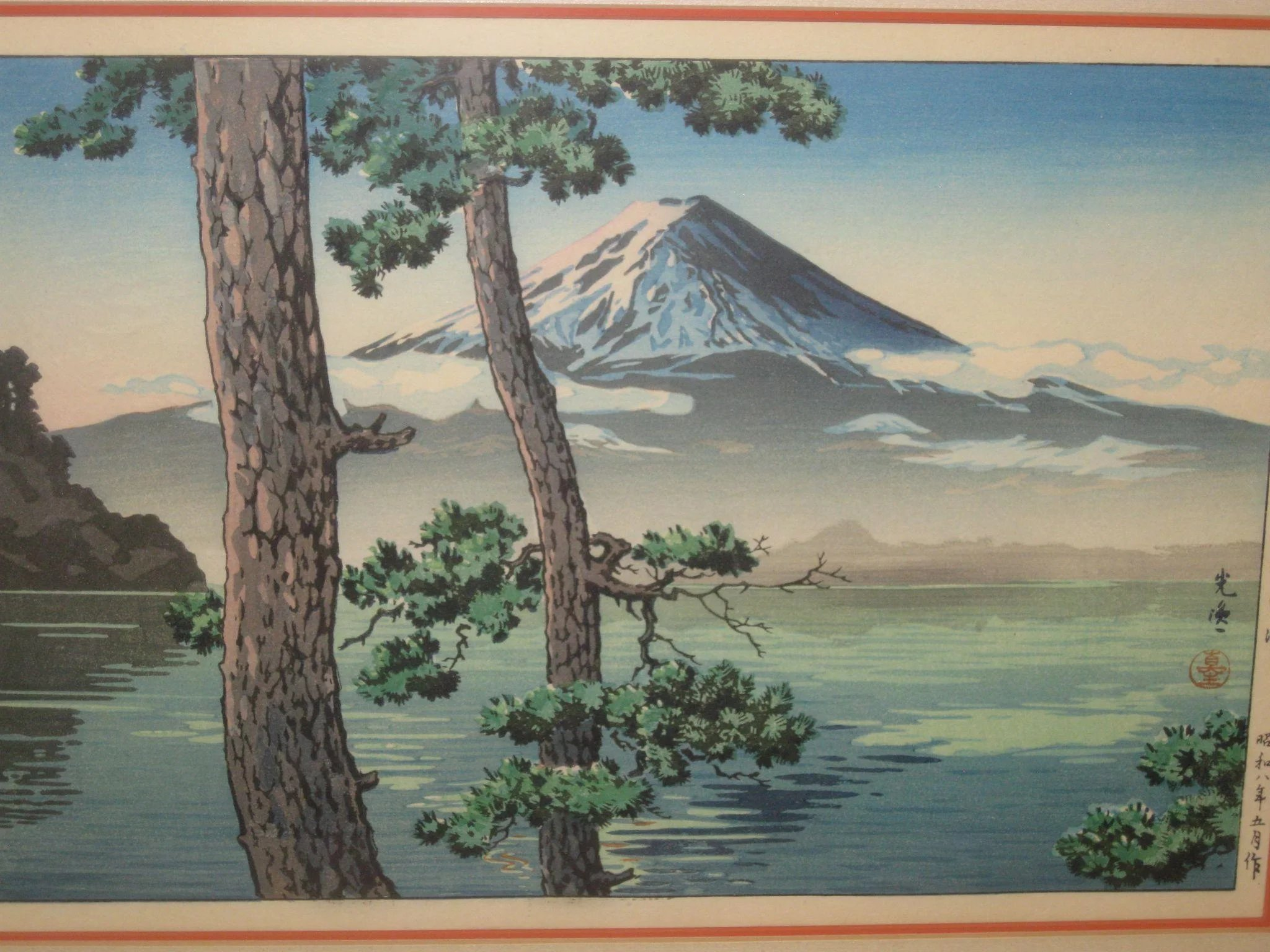 Vintage Japanese Woodblock Print with Mt. Fuji. Click to expand
