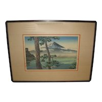 Vintage Japanese Woodblock Print with Mt. Fuji