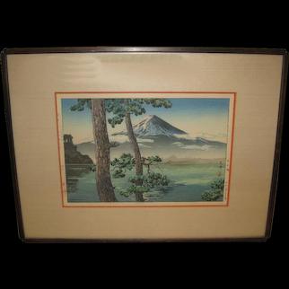 Vintage Japanese Woodblock Print with Mt. Fuji