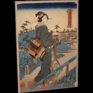 Woodblock Print of a Geisha by Toyokuni II Gosotei (1776-1835)