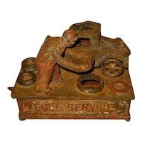Antique Mechanical Cast Iron Bank, Signed J.E. Stevens