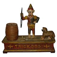 "19th century Victorian painted Mechanical Bank  ""Trick Dog"""
