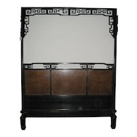 Chinese Black Lacquered Wood Canopy Bed
