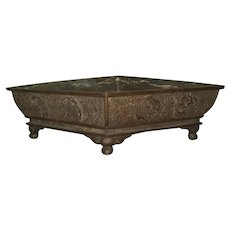 Antique Chinese Triangular Bronze Planter