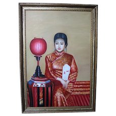 Chinese Oil Painting of a Beautiful Woman