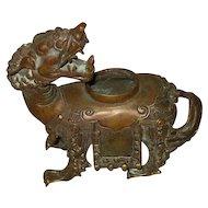 Antique Chinese Bronze Qilin Censor
