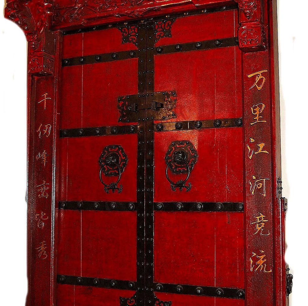 Massive Chinese Red Lacquer Doors Dynasty Collections Antiques