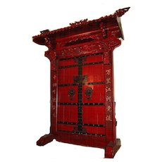 Massive Chinese Red-Lacquer Doors