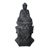 Chinese Gray Pottery Seated Buddha