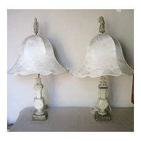 Pair of Chinese Carved Soapstone French Mounted Lamps