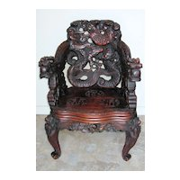 Japanese Meiji Period Art Nouveau Carved Dragon Chair
