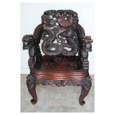 Japanese Meiji Period Art Nouveau Carved Dragon Chair
