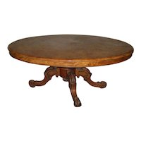 Antique Victorian English Burl Walnut Oval Table