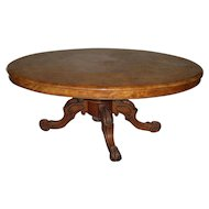 Antique Victorian English Burl Walnut Oval Table