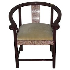 Chinese Lacquered Round-Backed Inlaid Chair