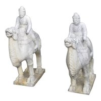 Pair of Chinese Carved Marble Camels with Foreign Riders