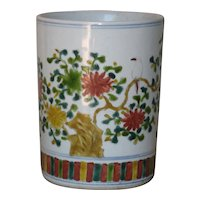 Chinese Porcelain Brush Pot Floral Motif