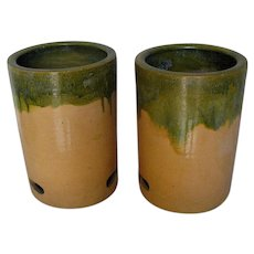 Pair of Japanese Hibachi wih Green Dripped Glaze