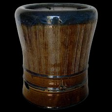 Japanese Ceramic Hibachi with Dark Blue Glazed Rim