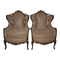 Pair Wingback Armchiars in a Snake-Skin Like Fabric