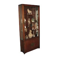 Vintage Chinese Yellow Rosewood Vitrine Cabinet