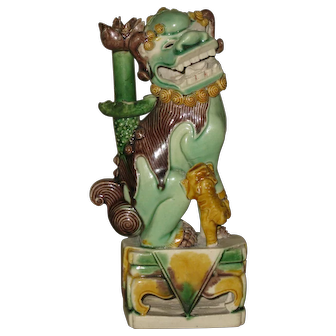 Antique Chinese Kangxi Period Sancai Porcelain Lion