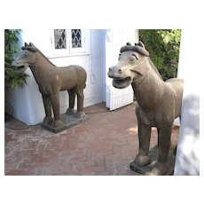 Chinese Carved Massive Stone Horses