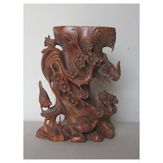Chinese Carved Wood Floral & Bird Vase