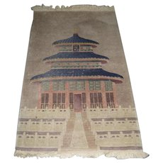 Small Chinese Wool Throw Rug with a Temple