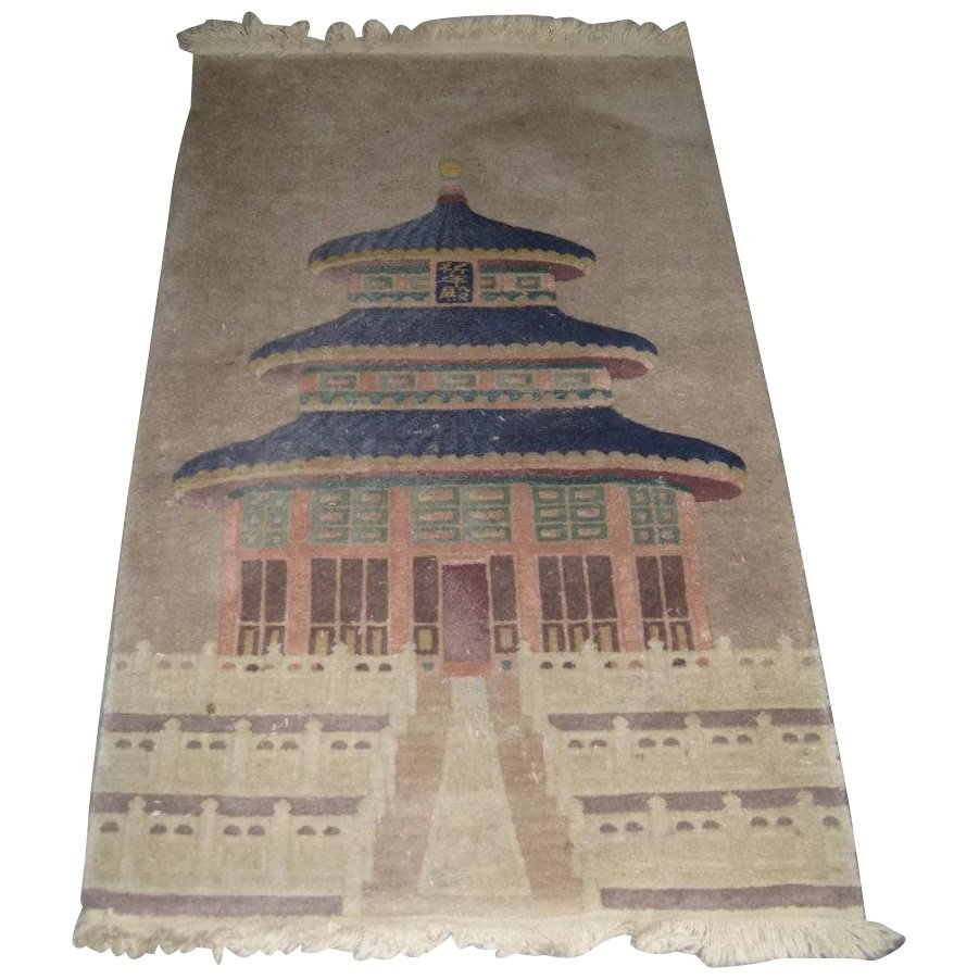 Chinese Wool Throw Rug With A Temple