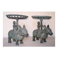 Chinese Pair of Bronze Stylized Deer Candlesticks