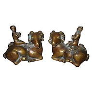 Pair Chinese Bronze Rams with Riders