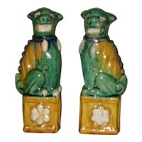 Pair Antique Chinese porcelain Sancai Glazed Temple Lions