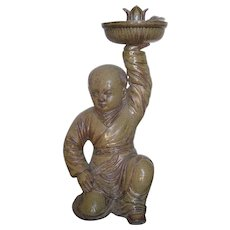 Unique Chinese Parcel-Glazed Pottery Candlestick with a Boy