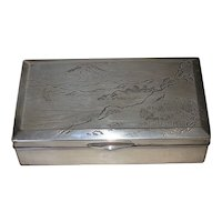 Exquisite Japanese Silver Box with Mt. Fuji
