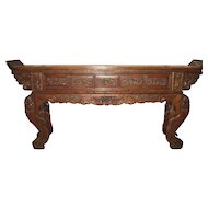 Massive Chinese Elaborately Carved Antique Altar Table