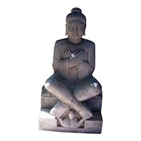 Chinese Carved Wei-Style Stone Seated Buddha