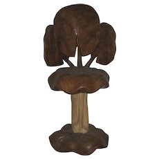 "Four Carved Wood ""Lotus"" Stools"