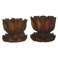 Pair Carved Wood Lotus Pods